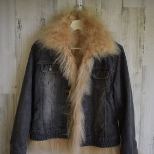 Denim jacket with Mongolian lamb and quilted inset